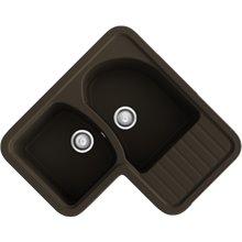 Fregadero de 2 cubas con escurridor en L Brown Jade Basic Poalgi