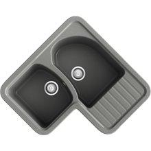 Fregadero de 2 cubas con escurridor en L Concret Jade Basic Poalgi