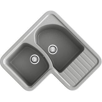 Fregadero de 2 cubas con escurridor en L Metalizado Jade Basic Poalgi