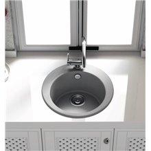Fregadero circular de 1 cuba Blanco 48 x 48cm Zafiro Basic Poalgi