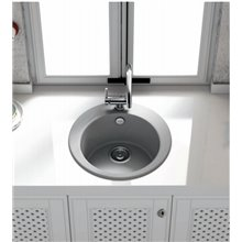 Fregadero circular de 1 cuba Negro 48 x 48cm Zafiro Basic Poalgi