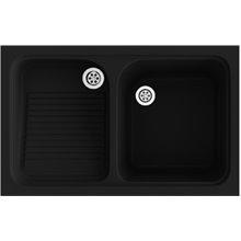 Lavadero de 1 cuba con escurridor Negro 80,2 x 50 cm Cuarzo Basic Poalgi