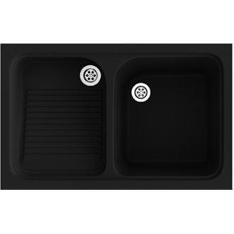 Fregadero de 1 cuba con escurridor Negro 80,2 x 50 cm Cuarzo Basic Poalgi