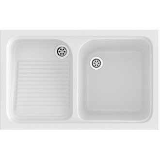 Fregadero de 1 cuba con escurridor Blanco 80,2 x 50 cm Cuarzo Basic Poalgi