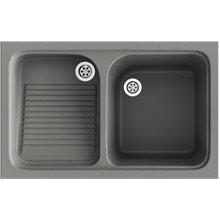 Lavadero de 1 cuba con escurridor Concret 80,2 x 50 cm Cuarzo Basic Poalgi