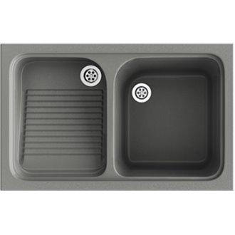 Fregadero de 1 cuba con escurridor Concret 80,2 x 50 cm Cuarzo Basic Poalgi