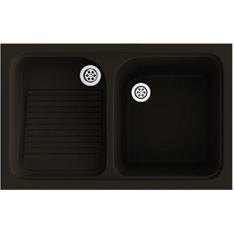 Fregadero de 1 cuba con escurridor Brown 80,2 x 50 cm Cuarzo Basic Poalgi