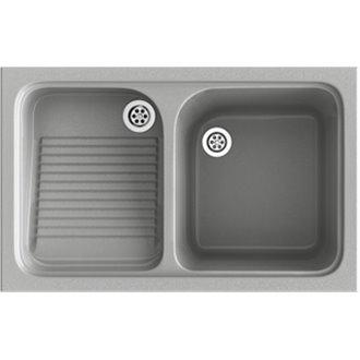 Fregadero de 1 cuba con escurridor Metalizado 80,2 x 50 cm Cuarzo Basic Poalgi