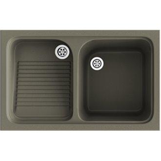 Lavadero de 1 cuba con escurridor Tundra 80,2 x 50 cm Cuarzo Basic Poalgi