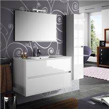 Mueble 101cm Blanco Brillo de 2 cajones NOJA SALGAR