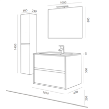 Mueble 100cm Blanco Brillo de 2 cajones SALGAR...