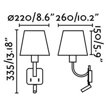 Aplique con lector LED ESSENTIAL níquel mate
