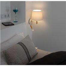 Aplique FUSTA blanco con lector LED Faro