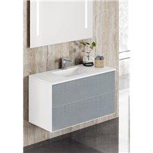 Mueble con lavabo y espejo metálico TESLA Doccia