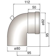 kit curva 90º con toma de muestras macho/hembra 80/80 FERROLI