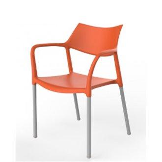sillas de bar baratas plastico naranja y patas metal