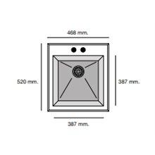 Fregadero de 1 cuba Negro Liso 46,8 x 52cm Shira Poalgi