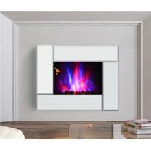 Chimenea eléctrica de pared 66x10,7x52cm cm plateada Homcom