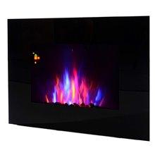 Chimenea eléctrica de pared 90x9,5x56cm negra...