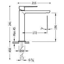 Grifo de lavabo Loft-Tres caño medio cascada con maneta