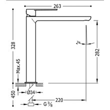 Grifo de lavabo Loft-Tres caño alto con maneta