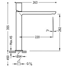 Grifo de lavabo Loft-Tres caño alto