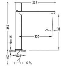 Grifo de lavabo Acero L TUB TRES LOFT