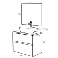 Pack mueble con 2 cajones, lavabo sobreencimera y espejo DECO LINE Sanchis
