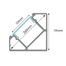 Perfil Tira LED angular aluminio 1 metro