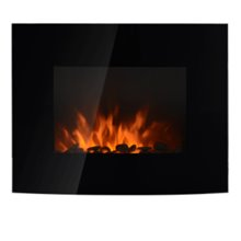 Chimenea eléctrica de pared regulador de brillo 88,5x13,5x56cm negra Homcom