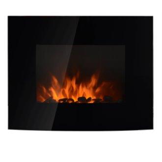 Chimenea eléctrica de pared regulador de brillo 88,5x13,5x56cm negra Homcom
