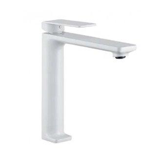Grifo lavabo caño alto blanco mate Imex Fiyi