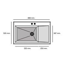 Fregadero de 1 cuba con escurridor Negro Liso 86 x 52cm Shira Poalgi