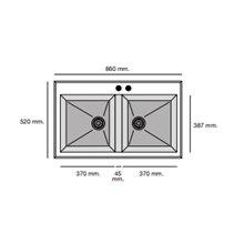 Fregadero de 2 cubas Negro Liso 86 x 52cm Shira Poalgi