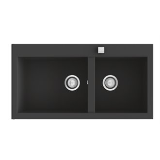 Fregadero de 2 cubas Negro Liso 95 x 52cm Shira Poalgi