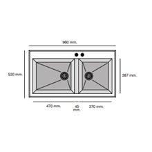 Fregadero de 2 cubas Concret 95 x 52cm Shira Poalgi