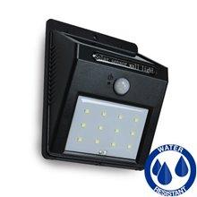 Aplique LED negro solar con detector de presencia