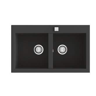 Fregadero de 2 cubas Negro Liso 79 x 52cm Shira Poalgi