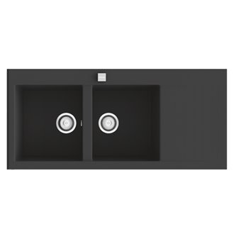 Fregadero de 2 cubas con escurridor Negro Liso 118 x 52cm Shira Poalgi