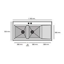Fregadero de 2 cubas con escurridor Albero 118 x 52cm Shira Poalgi