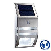 Aplique LED solar con detector de presencia plata