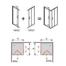 Mampara angular 2 puertas 1 plegable y 1 corredera decorado TR705+ TR707 Kassandra