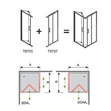 Mampara angular 2 puertas 1 plegable y 1 corredera TR705+ TR707 Kassandra