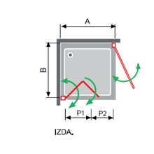 Mampara angular lateral plegable + puerta abatible NA305 Kassandra
