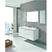 Mueble de baño 4 cajones con lavabo cerámico 2 senos 120cm Vitale Royo