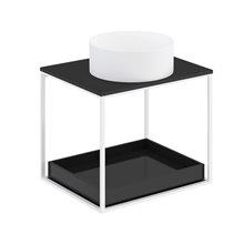 Mueble con estante deslizante+ encimera negra+ lavabo redondo sobre encimera blanco mate 60cm The grid evo COSMIC