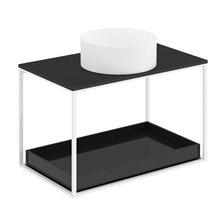 Mueble con estante deslizante+ encimera negra+ lavabo redondo sobre encimera blanco mate 80cm The grid evo COSMIC