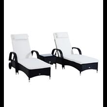 Juego de 2 tumbonas chaise loungue y mesa de Outsunny