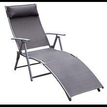 Tumbona reclinable de ratán con almohada Outsunny