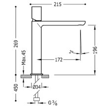 Grifo de lavabo Acero M TUB TRES LOFT